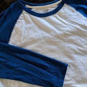 GAP Baseball Tee Long Sleeve Blue Raglan